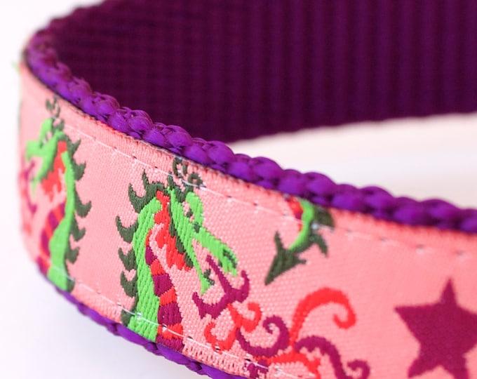 New Years Dragons Dog Collar, Pink Dog Collar, Adjustable Ribbon Dog Collar