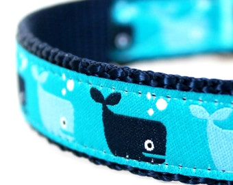Save the Whales Nautical Ocean Summer Adjustable Dog Collar