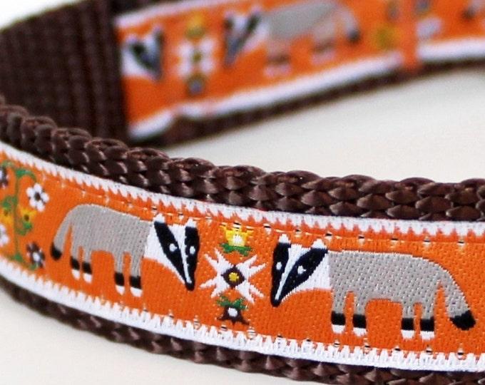 Honey Badger Dog Collar, Orange Pet Collar, Adjustable Ribbon Collar, Forest Dog Collar