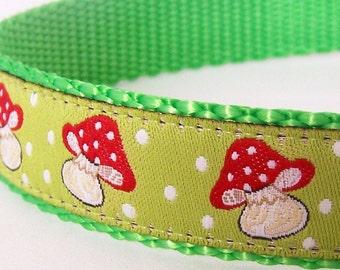 Mushroom Fields Dog Collar, Lime Green, Adjustable Pet Collar, Ribbon Dog Collar