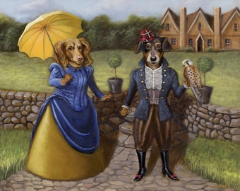 Frenchy and Molly - dog and kestrel print