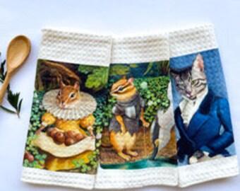 Tea Towels - chipmunk or dapper cat