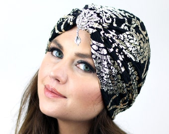 Crystal Flapper Turban  / Black Crystal Turban / Formal Turban / Kristin Perry