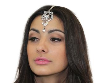 Crystal Tikka Headpiece / Head Jewelry / Silver Tikka Hair Chain / Maang Tikka / Kristin Perry