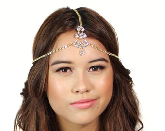 Gold Crystal Chain Headpiece / Gold Head Chain / Crystal Hair Jewelry / Grecian Headpiece / Kristin Perry