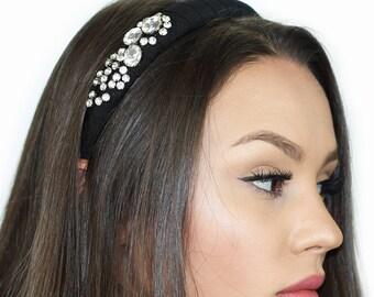 Beaded Rhinestone Headband / Glass Crystal Headband / Womens Headband / Headband / Kristin Perry