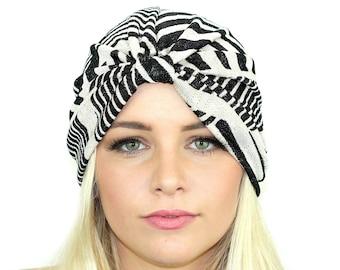 592ac3d30e6 Color Block Sweater Knit Turban   Full Turban Hat   Kristin Perry Earwarmer