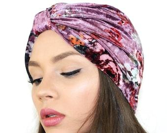 bf6d29aff8e Velvet Floral Turban   Floral Knit Hat   Stretch velvet turban   Turban Hat    Kristin Perry
