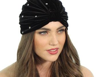 372580652fd Black Velvet Turban   Black Crystal Turban   Crystal Velvet Turban   Kristin  Perry
