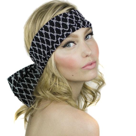 8f1dc5a42a4 Beaded Bow Back Headband   Womens Bow Headband   Lace Bow