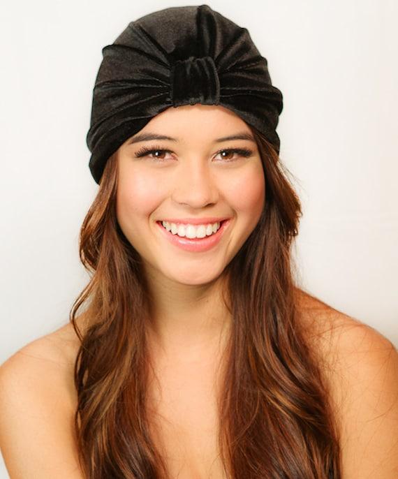 675e811eb7e Black Velvet Turban   Black Turban   Velvet Turban   Chemo Hat