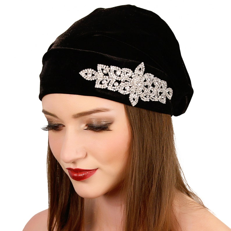 906a019faa0 Velvet Slouch Beanie   Black Crystal Beanie Hat   Formal Black