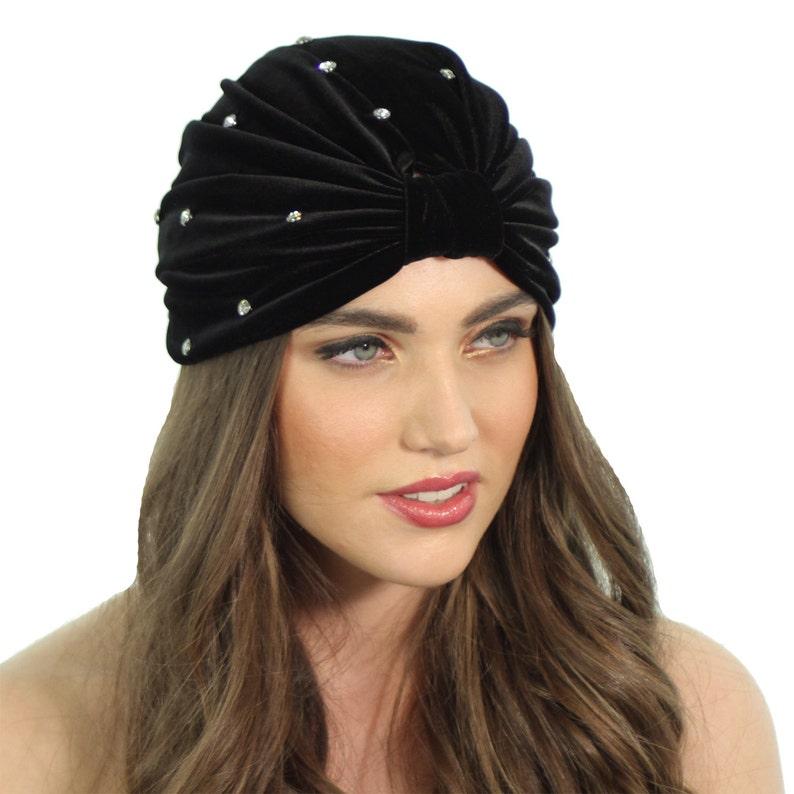 5ccf0e0e2dbce Black Velvet Turban   Black Crystal Turban   Crystal Velvet