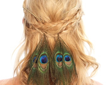 Feather Hair Sticks / Boho Hair Sticks / Hair Stick / Feather Hair Accessories / Hair Jewelry / Kristin Perry