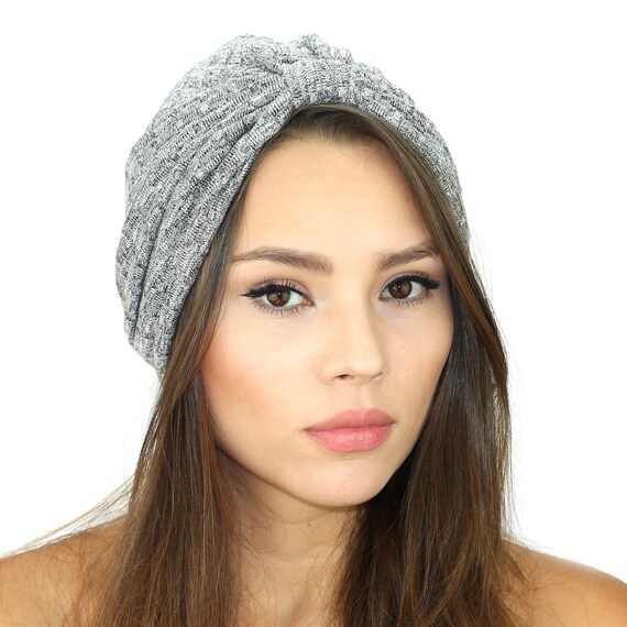6fb584e65d9 Sweater Turban Hat   Knit Sweater Turban   Grey Turban   Grey