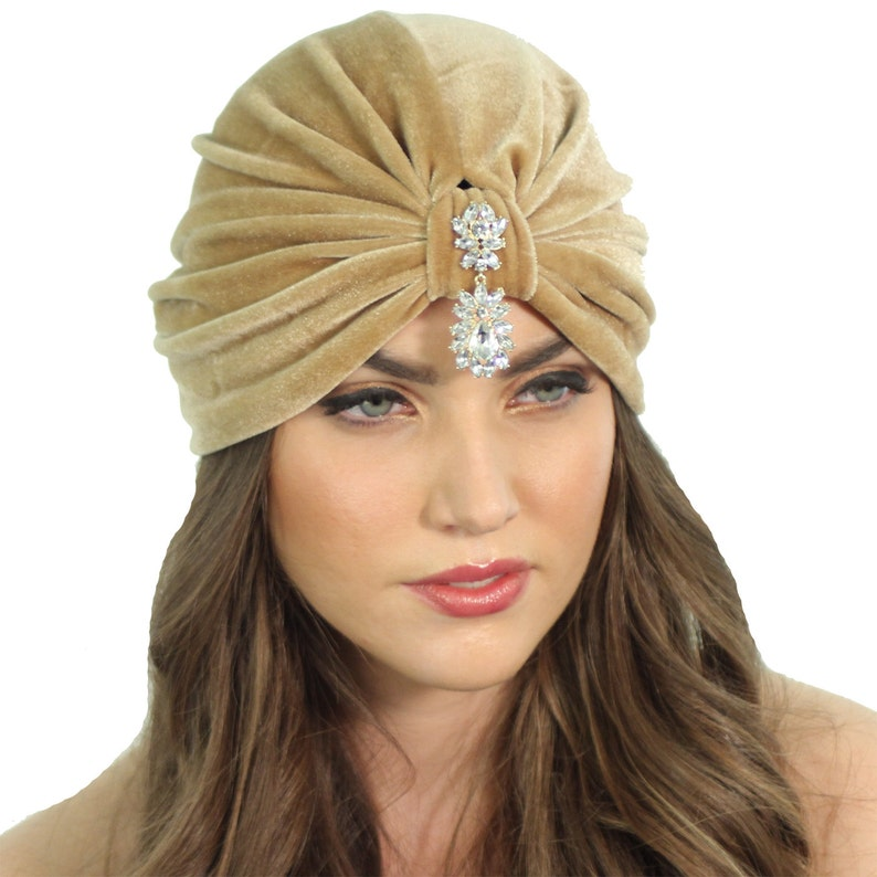 51a0179b2c6 Velvet Flapper Turban Crystal Turban Headband Light Brown