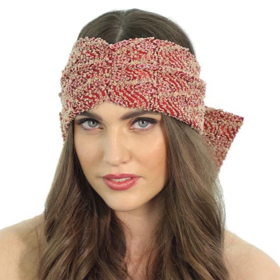 f0df6e6980d Red Lace Turban   Beaded Bow Headband   Bow Back Turban
