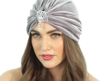 Flapper Turban / Crystal Turban Hat / Grey Velvet Turban / Formal Velvet Turban / Kristin Perry