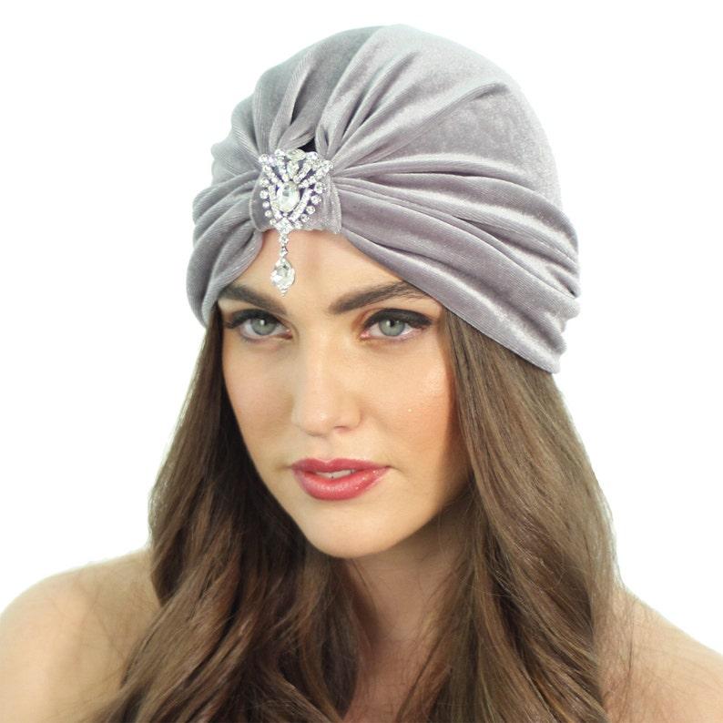 5fcd31c34c5f8 Flapper Turban   Crystal Turban Hat   Grey Velvet Turban