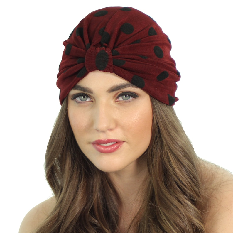 74870e4cb1d Velvet Burnout Fashion Turban   Polka Dot Head Wrap   Burgundy