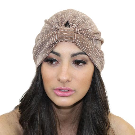fff199f06c2 Slinky Full Turban   Nude Turban Headband  Beige Knit Turban