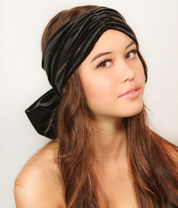 a706a22dadb Black Velvet Bow Turban   Womens Turban Hat   Fashion Headwrap