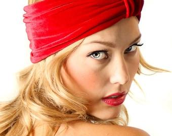 Velvet Turban Headband / Red Velvet Headband / Kristin Perry