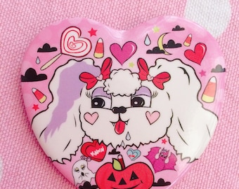"My Spoopy Valentine 2.25"" Heart Shaped Halloween Button"