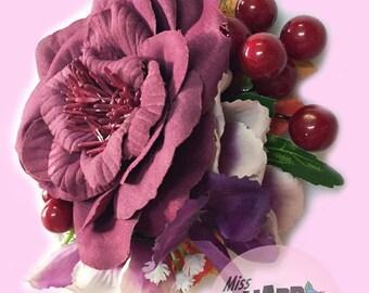 Burgandy Autumn Rose clip