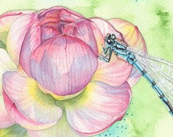 Lotus and Dragonfly, original watercolor painting, art, artwork, nature, garden, insects, boho, bohemian, pink, green, gardening, spring
