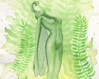 Forest Sprite, original watercolor painting with silver effects. Fantasy art, elf, nature, dragonfly, leaves, green, spirit, garden