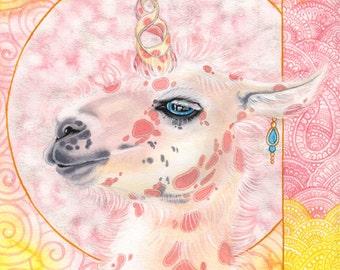 Because I'm fabulous! (And fluffy), Llamicorn painting, original watercolor art, fantasy, gypsy, boho, unicorn, Llama, Art for Kids