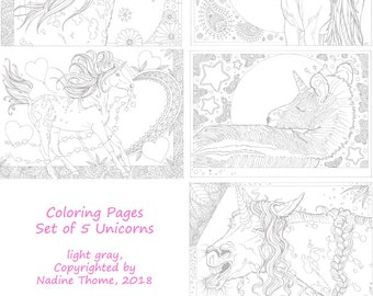 Set of 5 Unicorn Coloring Pages in gray line work. Zebra, foal, filly, horses, ponys, equines, fairy-tales, hand drawn, illustrations, boho