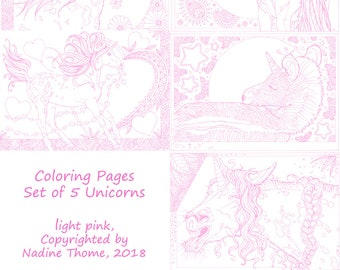 Set of 5 Unicorn Coloring Pages in pink line work. Horses, Appaloosa, filly, zebra, fantasy, fairy-tales, boho, bohemian, illustrations, art
