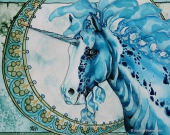 Ocean Soul, blue appaloosa unicorn, art nouveau, fantasy, original watercolor painting, horse, seahorse, pony,