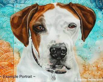 colourful custom pet portrait, commission, pets, dogs, cats, horses, animals, watercolour art, painting, originals