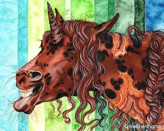Lila, the queen of laughter. Agate unicorn, original watercolor art, fantasy, boho, horses, equine art, portrait, keep smiling, painting