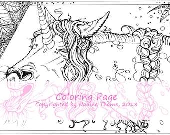 Hand drawn Unicorn Coloring Page 4, adults, advanced, illustration, fairy-tales, horses, ponys, equines, appaloosa, boho, bohemian, art