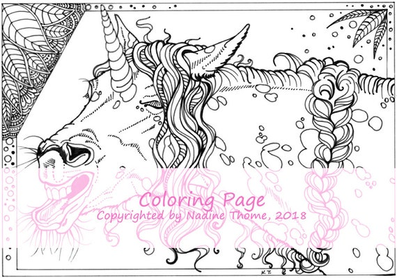 Hand Drawn Unicorn Coloring Page 4 Adults Advanced Etsy
