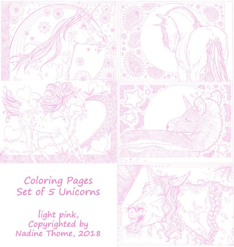 Coloriage De Pouliche Licorne.Ensemble De 5 Pages De Coloriage Licorne Dans Le Travail De Etsy