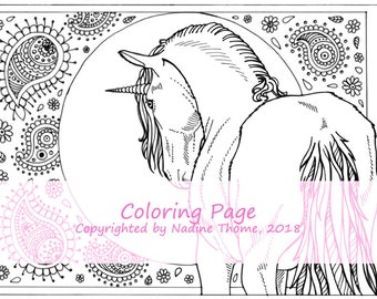 Hand drawn Unicorn Coloring Page 1, black and gray line work, boho, fairy-tales, adults, printable colouring sheet, illustration,fantasy