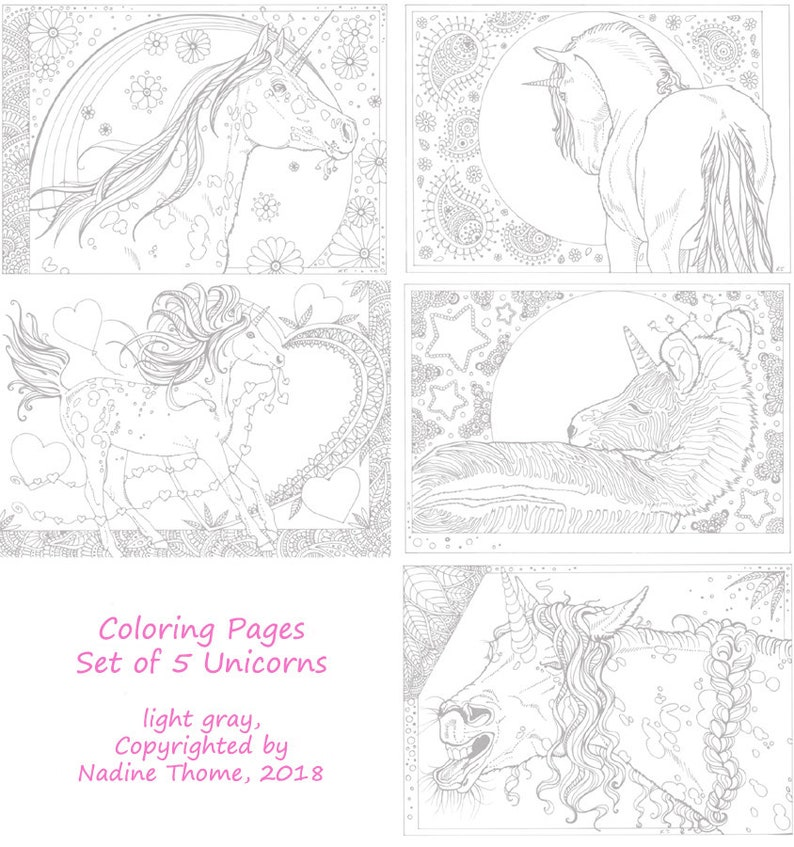 Ensemble De 5 Pages De Coloriage Licorne Dans Le Travail De La Etsy
