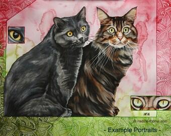 Large custom pet portrait, commission, original watercolor art, dogs, horses, cats, colorful, boho, gypsy,
