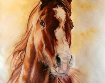 Large Horse portrait, Custom portrait, commission, Ponys Equine Art, Watercolors pet portraits, animal art, Arabian Horses Andalusians