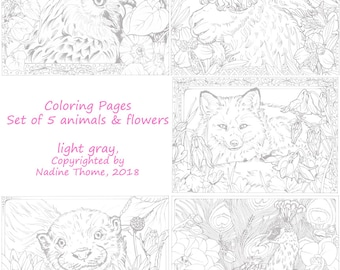 Set of 5 hand drawn Coloring Pages in gray, Animals and Flowers, Peacock, otter, Alpaca, Fox, Owl, Lotus, Columbine, Morning Glory, boho