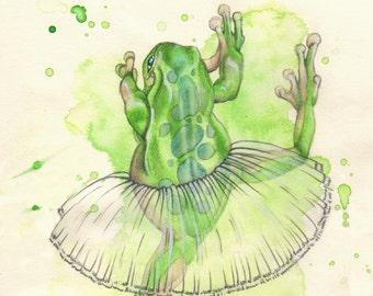 Tutu Frog, original watercolor illustration, artwork, painting, pencil drawing, green, dancing frog, princess