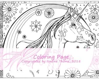 Hand drawn Unicorn Coloring Page 2, illustration, colouring sheets, fairy-tales, fantasy, horses, ponys, adults, advanced, black, gray, boho