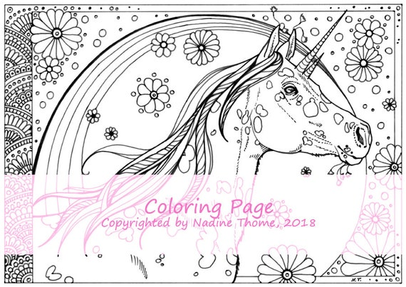 Hand Drawn Unicorn Coloring Page 2 Illustration Colouring Etsy