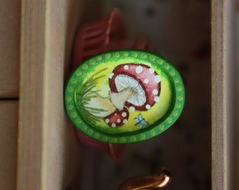 1:12 scale mushroom painting, framed dollhouse art, miniatures, collectibles, fairy garden, fantasy, witch, witchcraft, fairytale, tiny