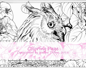 Hand drawn Coloring Page Owl and Morning Glory, animals, wildlife, coloring book, gray, black and white, illustration, art, birds, flowers